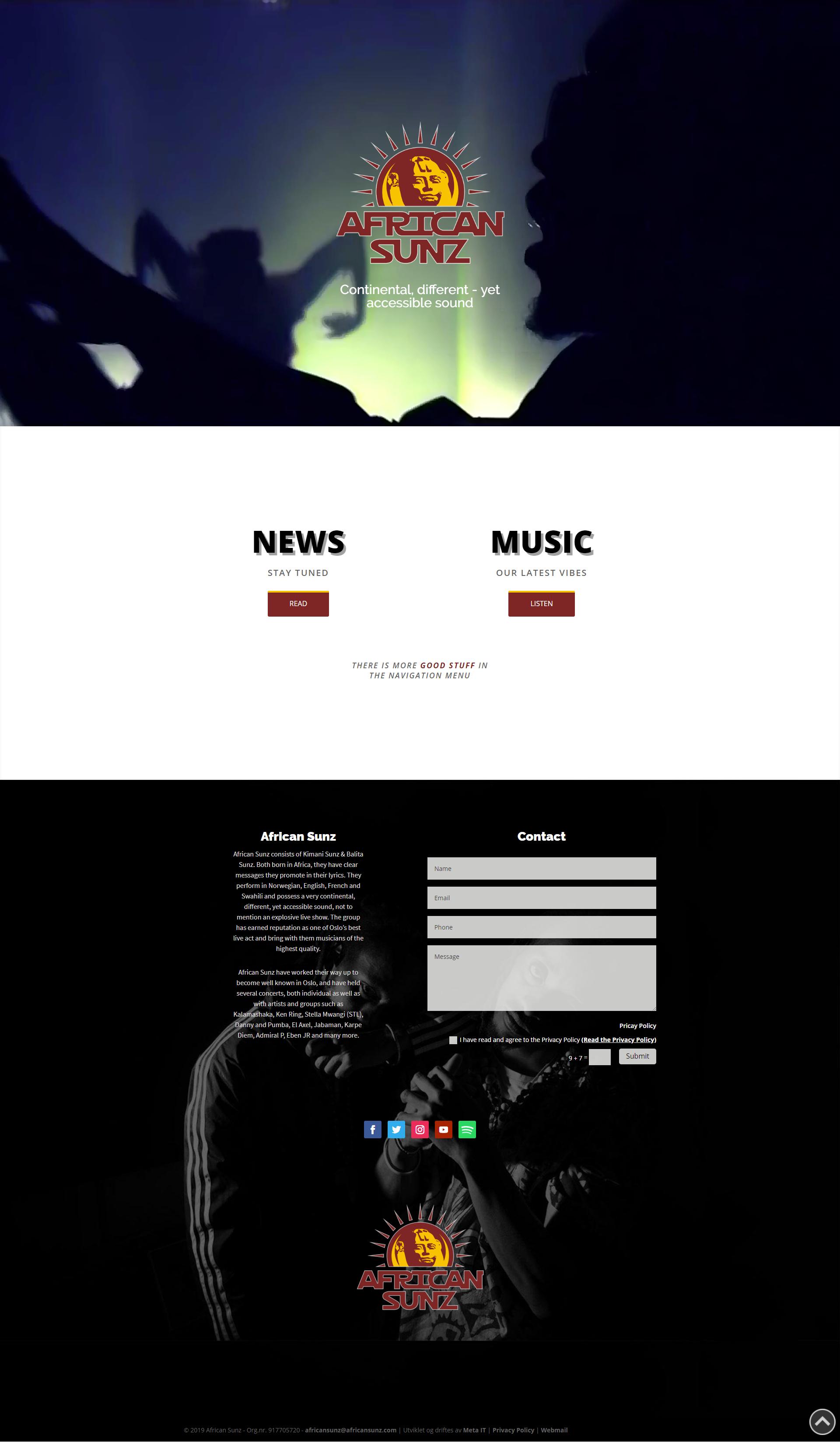 African Sunz Web førsteside